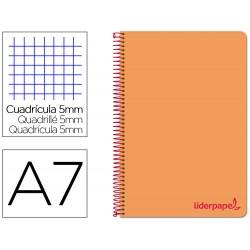 Cuaderno espiral liderpapel a7 micro wonder tapa plastico 100h 90 gr cuadro 5mm 4 bandas color naranja