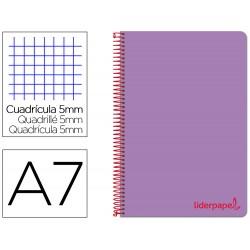 Cuaderno espiral liderpapel a7 micro wonder tapa plastico 100h 90 gr cuadro 5mm 4 bandas color violeta