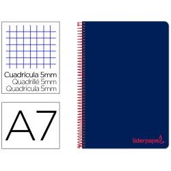 Cuaderno espiral liderpapel a7 micro wonder tapa plastico 100h 90 gr cuadro 5mm 4 bandas color azul marino