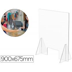 Pantalla de proteccion de mesa para mostrador metacrilato ventana 300 x 150 mm medidas 900 x 675 mm