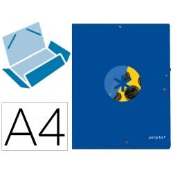Carpeta liderpapel antartik gomas a4 3 solapas carton forrado trending 2020 color azul