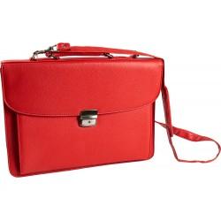 Cartera portadocumentos q-connect con correa cierre metalico y departamentos interiores color rojo 390x280
