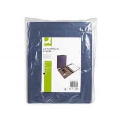 Carpeta portafolios q-connect a4 con calculadora bloc 20 hojas y departamentos interiores color azul 250x315