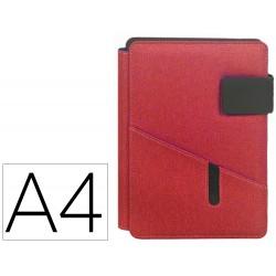 Carpeta carchivo portadocumentos venture din a4 con soporte tableta bolsillos y bloc color rojo