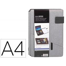Carpeta carchivo portadocumentos venture din a4 con soporte tableta bolsillos y bloc color gris