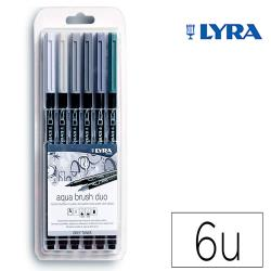 Rotulador lyra aqua brush acuarelable doble punta y pincel tonos grises blister de 6 unidades surtidas