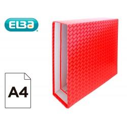 Caja archivador de palanca carton forrado elba din a4 lomo 85 mm rojo