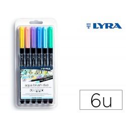Rotulador lyra aqua brush acuarelable doble punta y pincel tonos pastel blister de 6 unidades surtidas