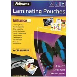 Bolsa de plastificar fellowes brillo din a4 80 micras pack 25