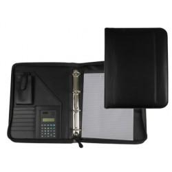 Carpeta portafolios 80-848 negra 260x355 mm cremallera 4 anillas 40 mm calculadora con bolsa para movil