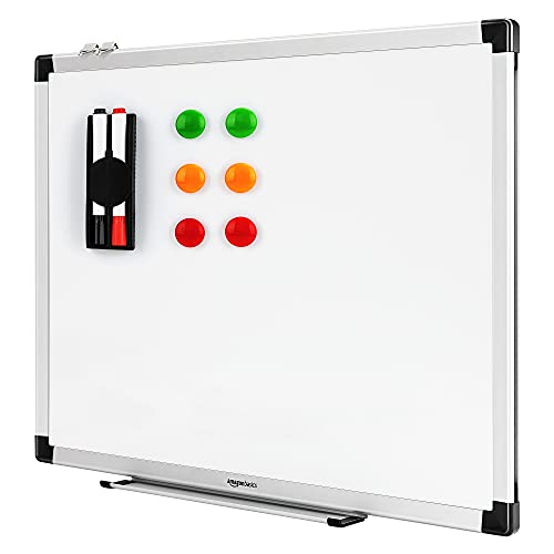 Amazon Basics - Pizarra blanca magnética con bandeja para...