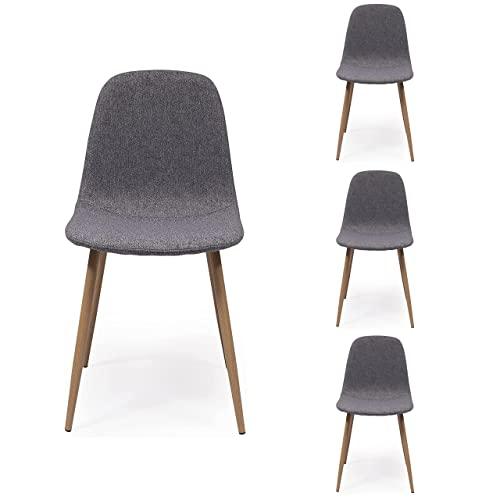 Pack de 4 sillas de Comedor Cairo tapizadas en Tela Chenilla...