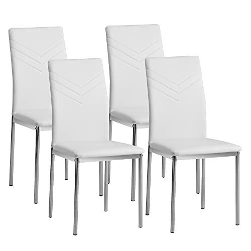 Albatros 2935 Verona Set de 4 sillas de Comedor, Blanco, pie...