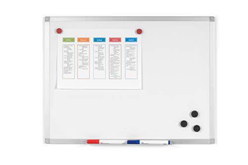 BoardsPlus - Pizarra blanca magnética con marco de aluminio...