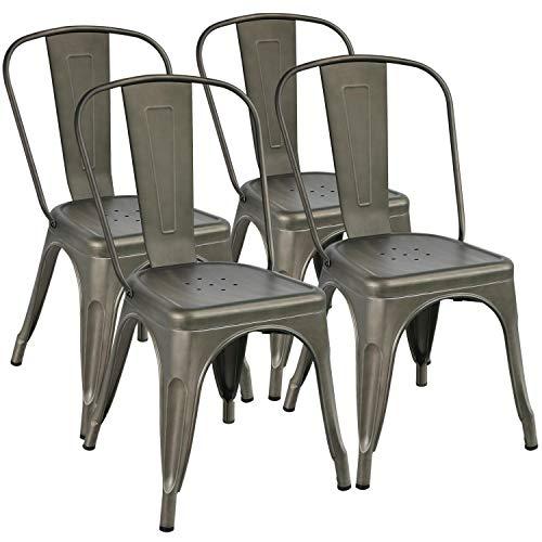 Yaheetech Pack 4 Sillas Industriales Vintage Taburetes Altos...