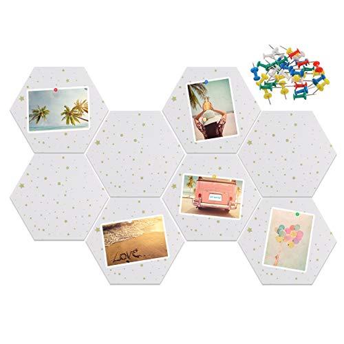 Xinzistar 8 x tablones de corcho con chinchetas, hexagonal,...