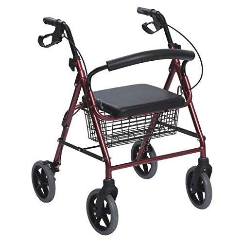 Andador de Aluminio Plegable Rojo 4 Ruedas - Andador Para...