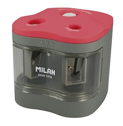 MILAN BWM10278 - Sacapuntas Power Sharp, Gris/Rojo, 7 x 6.5...