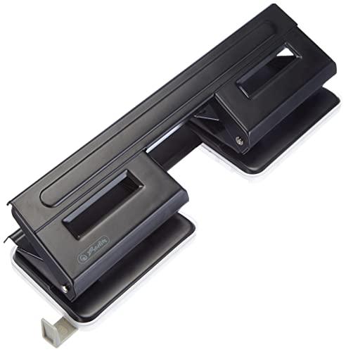 Herlitz - Perforadora de papel (4 perforaciones, con guía...