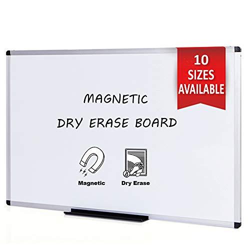 VIZ-PRO Pizarra blanca magnética con marco de aluminio, 150...