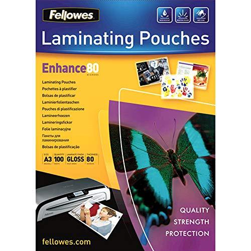 Fellowes 53062 - Pack de 100 fundas para plastificar, brillo...