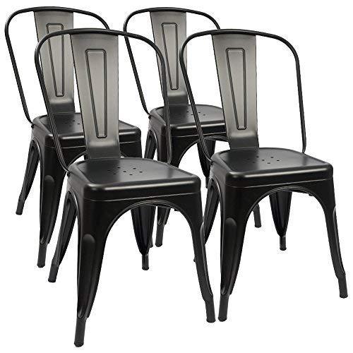 4 industrial retro metal comedor sillas moderna cocina...