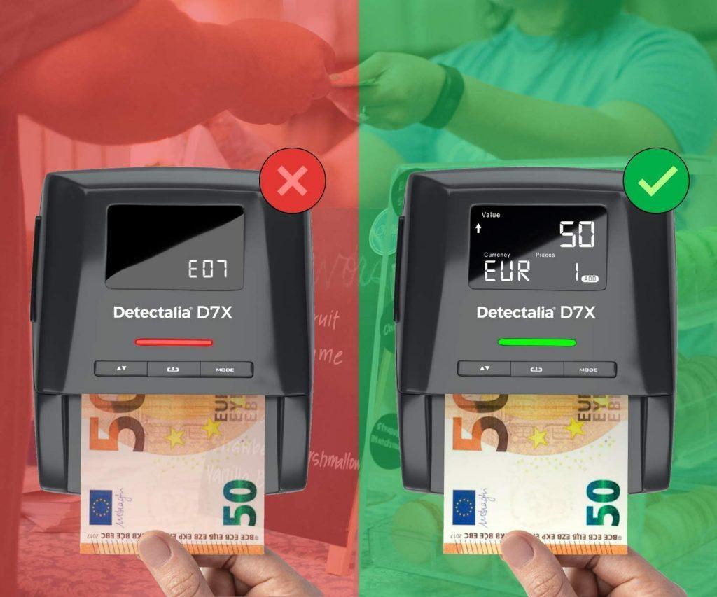Detector de billetes falsos D7X con alarma