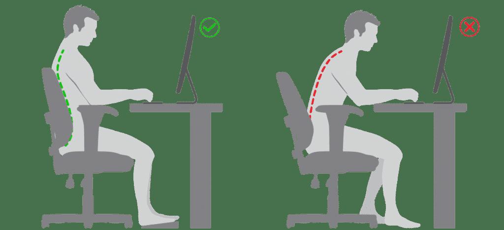 Postura correcta en la silla de escritorio